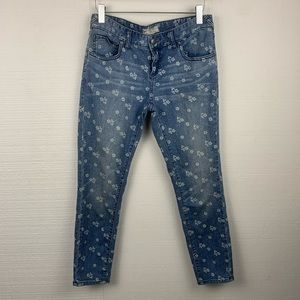 Free People Blue Floral Cropped Jeans